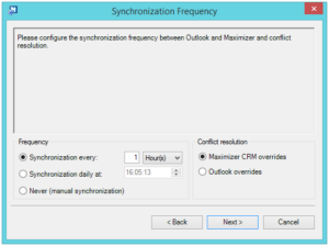 Outlook synchronisation frequency