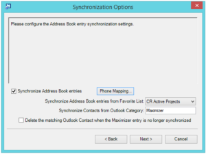 Outlook integration sync options