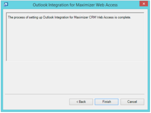 Outlook integration for Maximizer web access