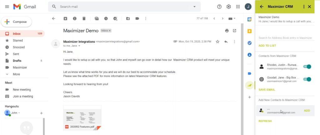 MAXIMIZERCRM gmail integration 01