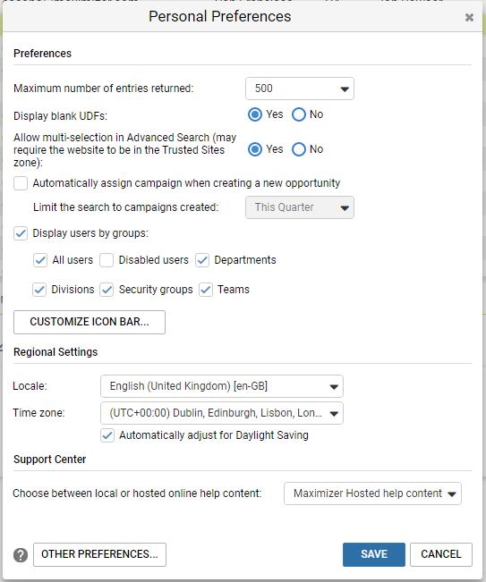 Maximizer CRM basic preferences